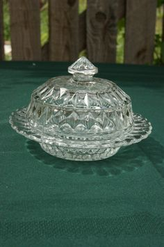 Depression WINDSOR DIAMOND Butter Dish with Cover by whoopsydaisy
