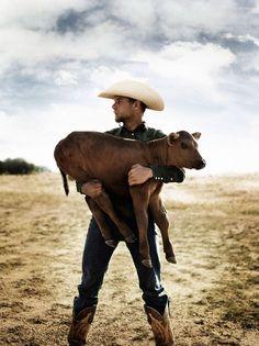 Cowboy holding calf