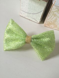 Green and Gold tulle bow $5