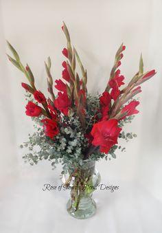 Rose of Sharon Floral Designs, Red Gladiolus Arrangment