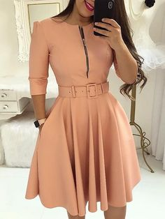 Casual dress - Women fall half sleeve tunic party dress o neck solid zipper belted pleated casual office dress vestidos mujer – Casual dress Elegant Party Dresses, Cute Dresses, Casual Dresses, Short Dresses, Dresses For Work, Dresses With Sleeves, Dresses Dresses, Dresses Online, Office Dresses For Ladies