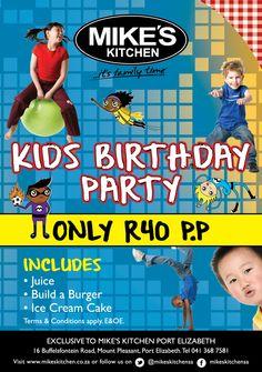 Mikes Kitchen Port Elizabeth - Kids Birthday Party Only p.