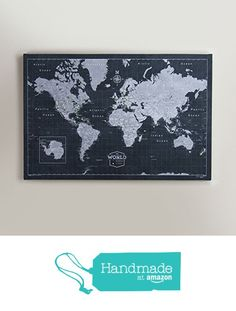 World Travel Map Pin Board - Modern Slate from Conquest Maps https://smile.amazon.com/dp/B01DI2XZEY/ref=hnd_sw_r_pi_awdo_t75rybC1YMJZA #handmadeatamazon
