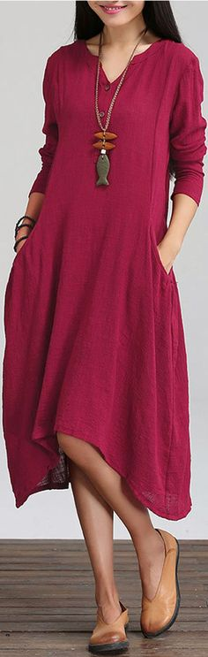 #Farbberatung #Stilberatung #Farbenreich mit www.farben-reich.com O-Newe Loose Pure Color V-Neck Pocket High Low Dress For Women