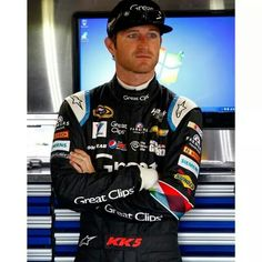 Kasey Kahne with a new Great Clips racing suit