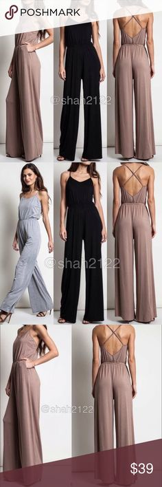 Criss cross back wide leg jumpsuit jumper dress ‼️BLACK OR MOCHA‼️Price is firm unless bundled‼️  New with tags retail item. sexy jumpsuit jumper catsuit dress, high waisted wide leg pants,crisscross back.backless open back style . Adjustable straps. Elastic waist. Side pockets..  ⭐high quality Material , -super comfy and stretchy fabric. Boutique Pants Jumpsuits & Rompers