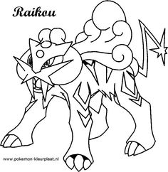 #Raikou #kleurplaat #pokemon original image from: http://jpijl.deviantart.com/art/Raikou-Coloring-Page-497873243