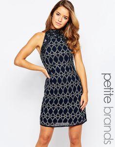 Maya+Petite+Embellished+Shift+Dress+With+High+Neck
