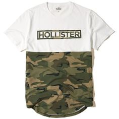 Hollister Camo Logo Graphic Tee ($18) ❤ liked on Polyvore featuring men's fashion, men's clothing, men's shirts, men's t-shirts, white, mens white crew neck t shirts, mens white t shirts, j crew mens shirts, mens camouflage shirts and mens camo t shirt