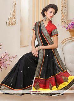 Black Shaded Lace Bhagalpuri Silk Saree