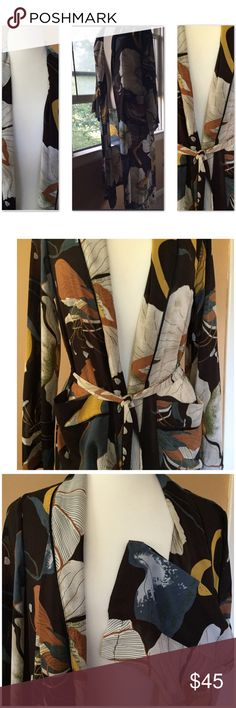 """Beautiful Floral Kimono by K Zell NWT Stylish, sheer kimono for jeans or a better-than-the-usual-wrap for a dress. Armpits 22, length 49"""", arms 24"""" K Zell Tops"""