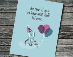 Birthday Viral Bacteriophage Card Biology Chemistry by NerdyWordsGifts | Etsy