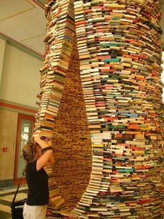 Book Sculpture Prague I love books, art, and prague. I Love Books, Books To Read, Amazing Books, Michel De Montaigne, Buch Design, Book Sculpture, Paper Sculptures, World Of Books, Book Nooks