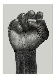 Raised Fist - graphic illustration by Børge Bredenbekk for Paper Collective. Black Fist, Foto 3d, Raised Fist, Afrique Art, Creation Art, Pencil Art Drawings, Hand Art, Black Power, Hand Illustration