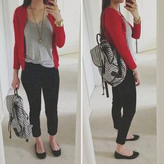 Striped backpack! simple outfit: red cardigan, grey tee, black skinny jeans