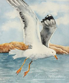 While on Åstol I was inspired to paint seagulls - a bird I love and think is beautiful - but they can find quite scary too. Beach Watercolor, Watercolor Artwork, Easy Flower Painting, Mini Canvas Art, Pictures To Draw, Animal Paintings, Bird Art, Pet Birds, Art Drawings