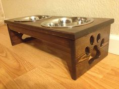 Raised Dog Bowl Holder  Paw Prints  Two by CustomWoodworksATX, $49.00