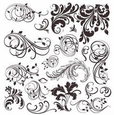 ビンテージ花の要素ベクトルの集合
