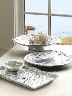 Mariposa Oceanus : 100% recycled aluminum designs brushed with aqua porcelain glaze : www.mariposa-gift.com