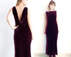 90s Velvet Dress  Open Back Dress  Burgundy Dress  by MjauVintage