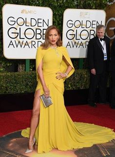 Jennifer Lopez in a Giambattista Valli Haute Couture dress, Harry Winston jewelry, and Jimmy Choo shoes–and 13 other best dressed celebrities at the Golden Globes
