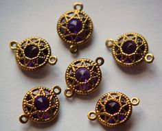 Vintage Amethyst Connector Beads with Neat Brass by yummytreasures, $2.95