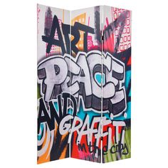 Graffiti Room Divider.  LOVE THIS!  Would be great if you could customize them.
