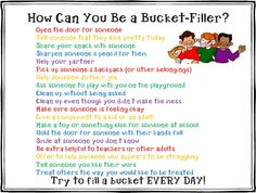 How to be a bucket filler.