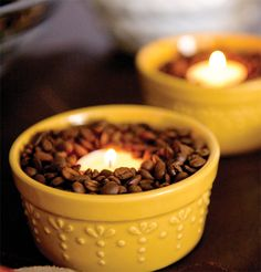 easy DIY! fill a pretty bowl with coffee beans and pop a tea light in the middle for a welcoming aroma as guest arrive. #holidayentertaining