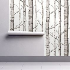 Nursery Wallpaper - Birch Grove in Warm Grey, Linen White by Willow Lane Textiles - Removable Self Adhesive Wallpaper Roll by Spoonflower by Spoonflower on Etsy https://www.etsy.com/listing/491052289/nursery-wallpaper-birch-grove-in-warm