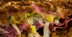 Oven-Baked Reuben Casserole-  use finer crumbles to reduce the number of slices of bread on both top and bottom