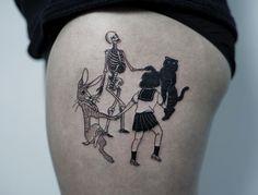 happy friends hip tattoo idea