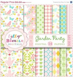 On Sale Garden Party digital papers for by LillyBimble on Etsy