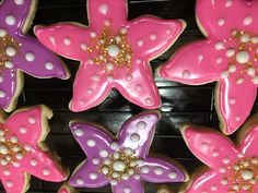 Starfish sugar cookies for an Under the Sea birthday party.