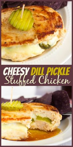 Cheesy Pickle Stuffed Chicken Breasts - The Weary Chef - You're on your way to a fun dinner with this easy dill pickle stuffed chicken recipe! Turkey Recipes, Chicken Recipes, Chicken Meals, Chicken Gravy, Game Recipes, Recipe Chicken, Rotisserie Chicken, Recipies, Homemade Pickles