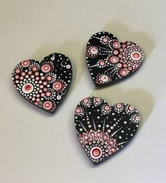 Your place to buy and sell all things handmade Small Hand Painted Heart Magnets Dot Art Hand Painted Valentine Mom Sister Daughter Women Girls Dot Art Painting, Pebble Painting, Painting Patterns, Stone Painting, Mandala Painting, Mandala Painted Rocks, Mandala Rocks, Zentangle, Mandala Stencils