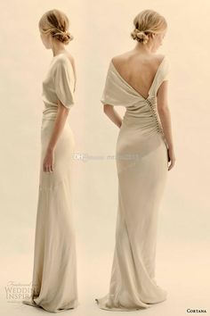 Sheath Crew Neckline Sexy Backless Floor Length Short Capped Sleeve Stain Simple Garden Vintage Wedding Dress