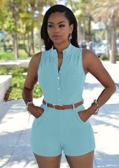 2018 New Women High waist deep v-neck Casual Sleeveless bodycon Ladies Short Pants Overalls Belt plus size tunic solid playsuits Classy Outfits, Chic Outfits, Summer Outfits, Fashion Outfits, Fashion Goth, Style Fashion, Womens Fashion, Rompers Women, Jumpsuits For Women