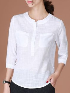 This is Casual Women Half Button Stand Collar Plaid Sleeve Blouse, cotton! Kurti Neck Designs, Kurta Designs Women, Blouse Designs, Trendy Tops For Women, Casual Outfits, Fashion Outfits, Blouse Styles, African Fashion, Clothes For Women