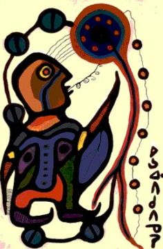Morrisseau painting showing lines of prohecy. Inuit Kunst, Inuit Art, Native Canadian, Canadian Artists, Native American Paintings, Woodland Art, Aboriginal Art, Native Art, First Nations