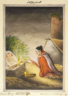 A Woman Worshipping at a Shrine to Ganesha. An album containing fifty-three drawings depicting occupations. ca.1815 - ca.1820. Lucknow, India.