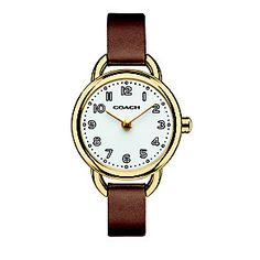 2920417 - Coach ladies' gold-plated tan leather strap watch