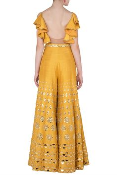 Papa Don't Preach presents Mustard yellow embroidered cutout jumpsuit available only at Pernia's Pop Up Shop. Party Wear Indian Dresses, Indian Gowns Dresses, Dress Indian Style, Indian Wedding Outfits, Bridal Outfits, Pakistani Dresses, Indian Outfits, Shadi Dresses, Stylish Dress Designs