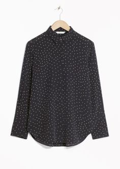 & Other Stories image 2 of Dotted Wide Cuff Silk Shirt in Dot Print