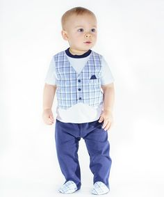 Another great find on #zulily! White Interlock Top, Blue Plaid Vest & Blue Footie Pants - Infant by Quiltex #zulilyfinds