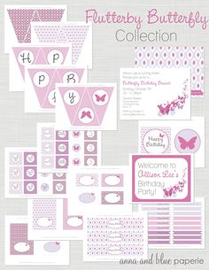 Flutterby Butterfly PRINTABLE DIY Party Collection - by anna and blue paperie.