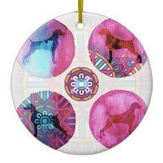 MANDALA WEIM DREAM PINK MULTI CERAMIC ORNAMENT - animal gift ideas animals and pets diy customize