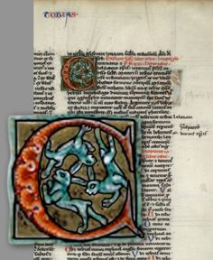 "Three Hares Illuminated C in ""Tobias"" Manuscript ~ Drei Hasen und Drei Ohren, hat keiner seins verloren! They are the ancient symbol of the Three Hares forming a triangle which gives the illusion that they have two ears, when they only have one."