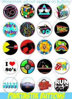 Totally Awesome 80s Pin Back Buttons 80s Theme Party by PINKTASTIK