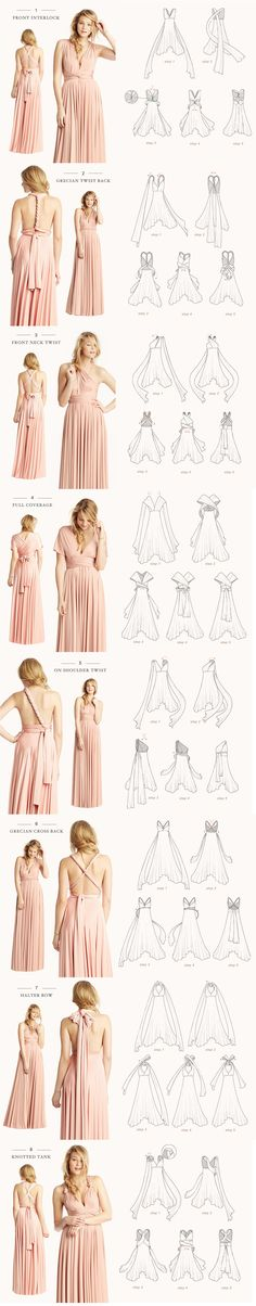 How to tie an infinity dress . How to tie an infinity dress Infinity Dress Styles, Infinity Dress Ways To Wear, Infinity Dress Tutorial, Infinity Gown, Infinity Dress Bridesmaid, Multiway Bridesmaid Dress, Bridesmaid Hair, Prom Hair, Bridesmaids